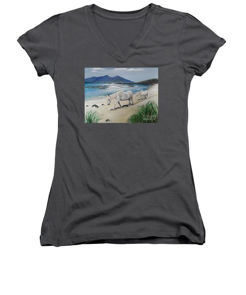 Ponies Of Muck- Painting Women's V-Neck T-Shirt (Junior Cut) by Veronica Rickard