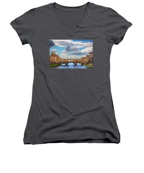 Ponte Vecchio Clouds Women's V-Neck