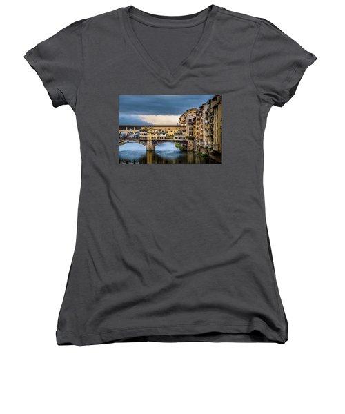 Women's V-Neck T-Shirt (Junior Cut) featuring the photograph Ponte Vecchio E Gabbiani by Sonny Marcyan