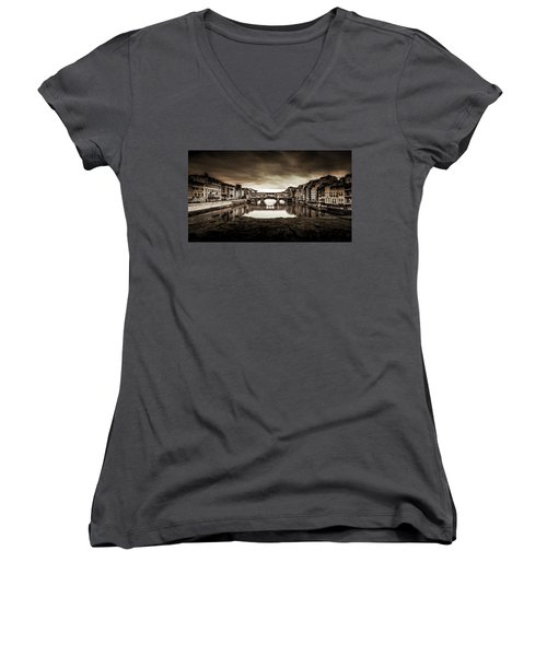 Women's V-Neck T-Shirt (Junior Cut) featuring the photograph Ponte Vecchio In Sepia by Sonny Marcyan