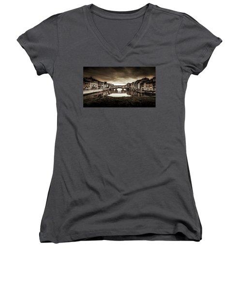 Ponte Vecchio In Sepia Women's V-Neck T-Shirt (Junior Cut)