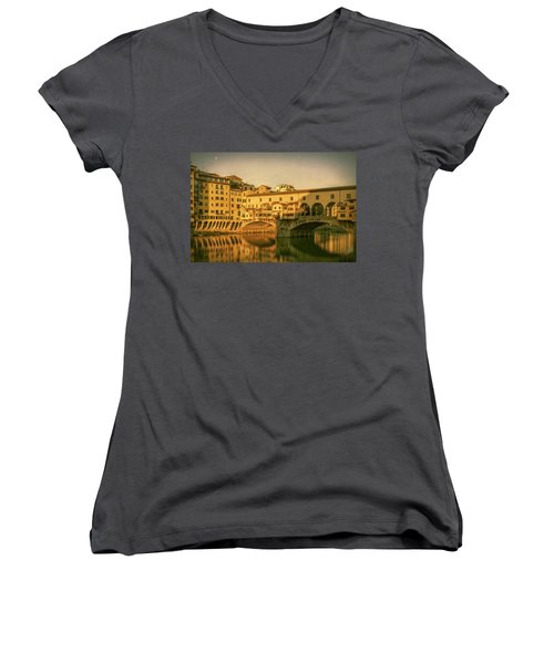 Women's V-Neck T-Shirt (Junior Cut) featuring the photograph Ponte Vecchio Morning Florence Italy by Joan Carroll