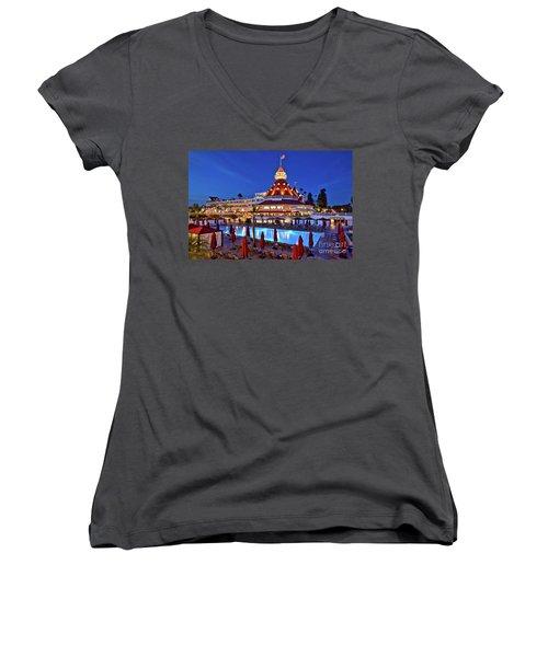 Poolside At The Hotel Del Coronado  Women's V-Neck T-Shirt