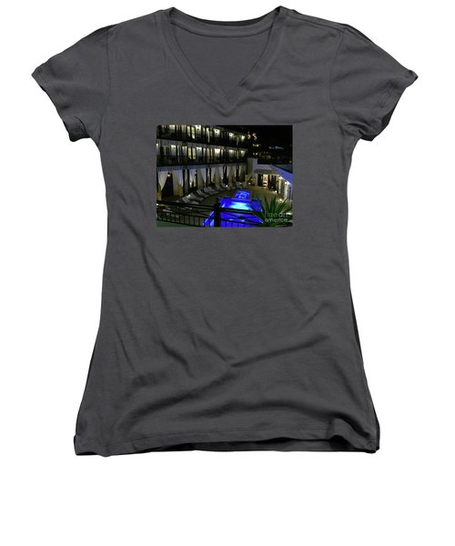 Poolside At The Pearl Women's V-Neck T-Shirt (Junior Cut) by Megan Cohen