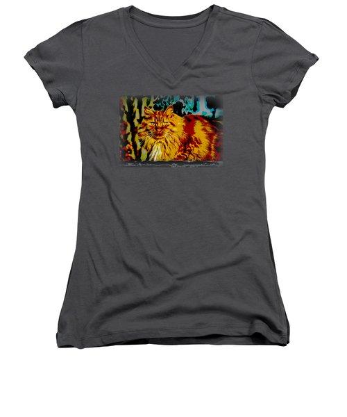 Pop Art Orange Tabby Cat Women's V-Neck (Athletic Fit)