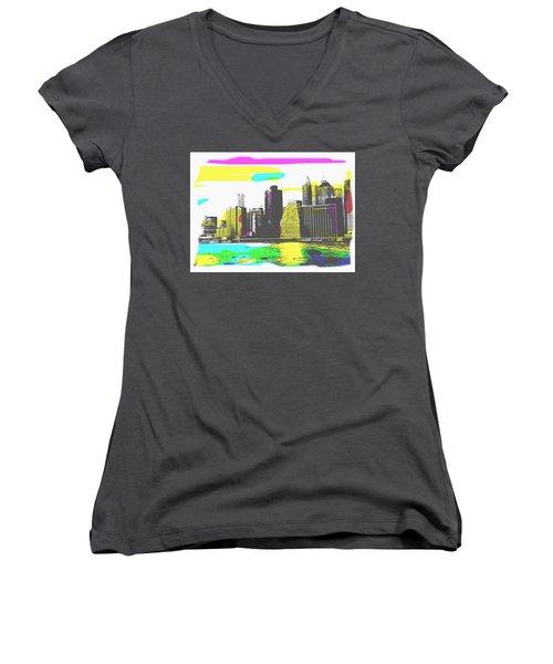 Women's V-Neck featuring the digital art Pop City Skyline by Shelli Fitzpatrick