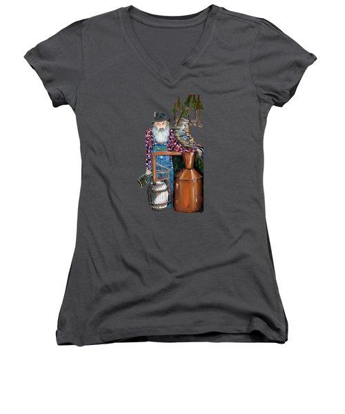 Popcorn Sutton Moonshiner -t-shirt Transparrent Women's V-Neck