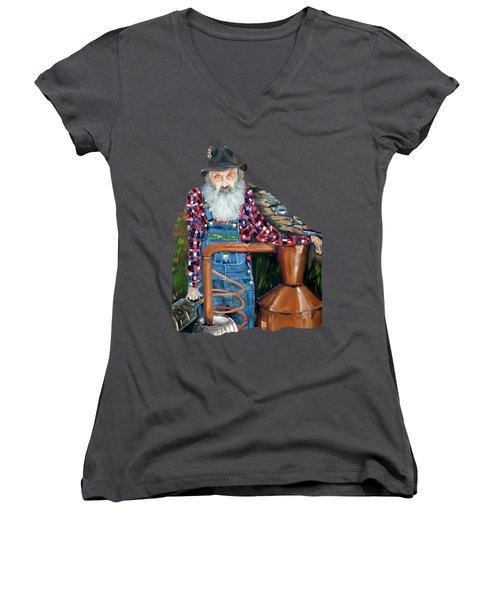 Popcorn Sutton Moonshiner - Tshirt Transparent Torso Women's V-Neck T-Shirt (Junior Cut) by Jan Dappen
