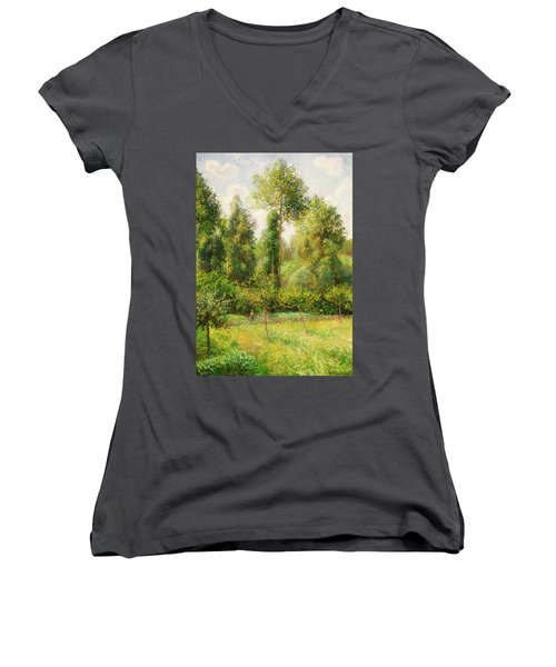 Women's V-Neck T-Shirt (Junior Cut) featuring the painting Poplars - Eragny by Camille Pissaro