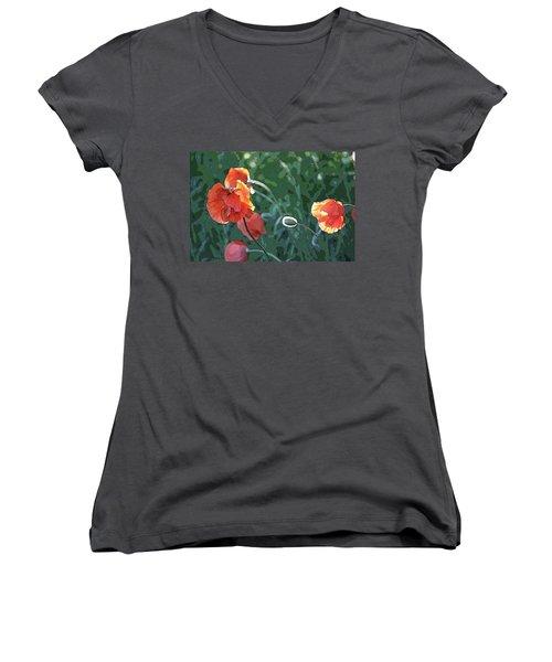 Poppies Women's V-Neck T-Shirt