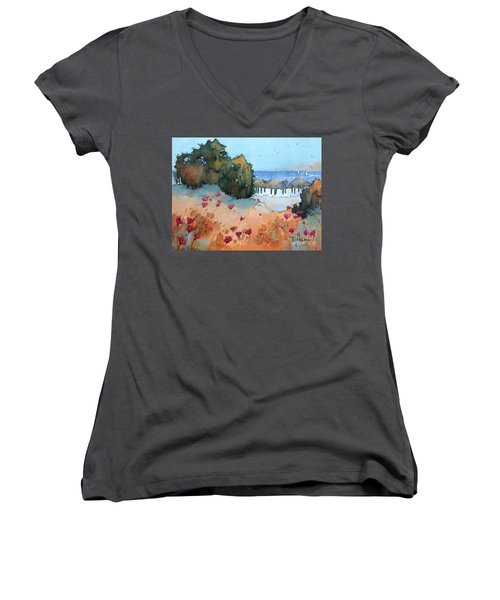 Poppies By The Sea Women's V-Neck T-Shirt