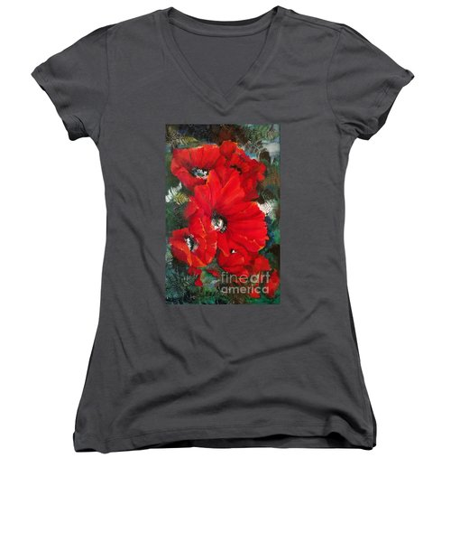 Poppies In Light Women's V-Neck (Athletic Fit)