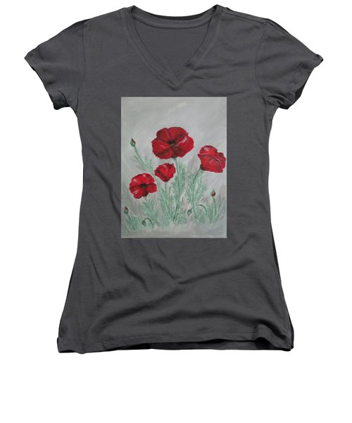 Poppies In The Mist Women's V-Neck T-Shirt (Junior Cut) by Sharyn Winters