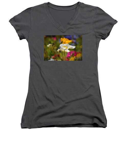 Poppies In The Spring Women's V-Neck T-Shirt (Junior Cut) by Deb Halloran