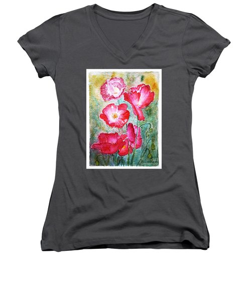 Women's V-Neck T-Shirt (Junior Cut) featuring the painting Poppies by Jasna Dragun