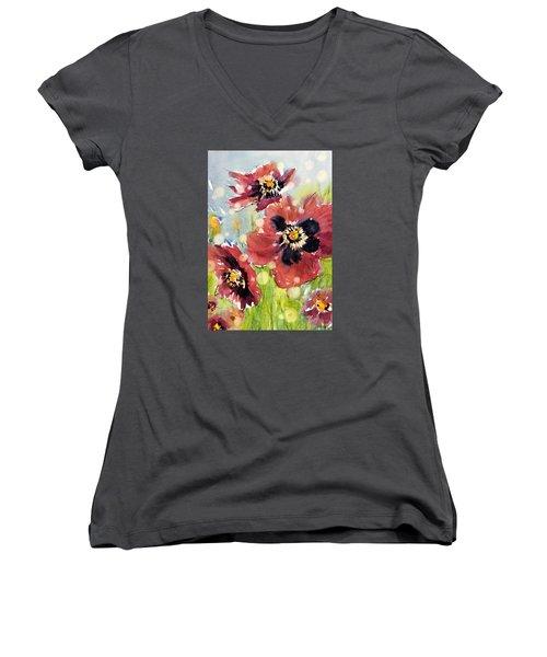 Poppies Women's V-Neck T-Shirt (Junior Cut) by Judith Levins