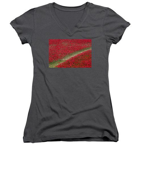 Poppies Of Remembrance Women's V-Neck T-Shirt