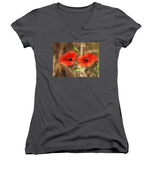 Poppies On Barnwood Women's V-Neck