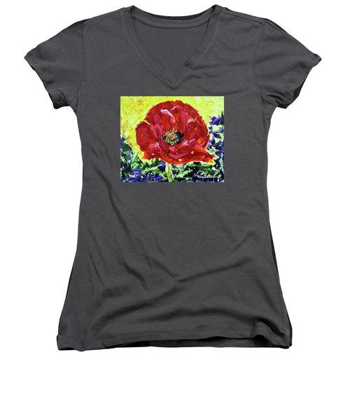 Poppy Amongst Lavender Women's V-Neck T-Shirt (Junior Cut) by Lynda Cookson