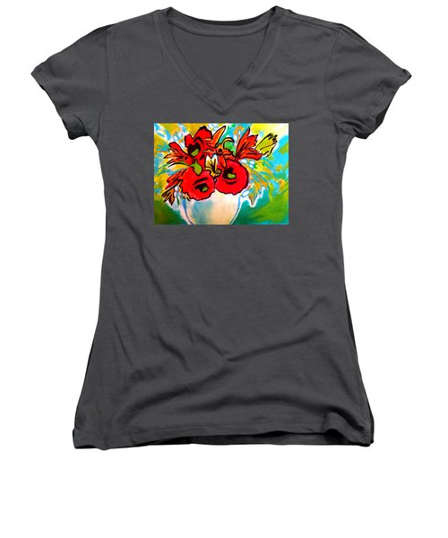 Poppy Bouquet Reworked Women's V-Neck (Athletic Fit)