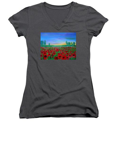 Poppy Field At Sunset Women's V-Neck