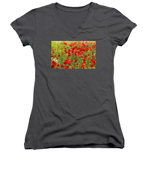 Poppy Field Women's V-Neck