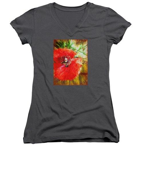 Poppy Variation Too Women's V-Neck (Athletic Fit)