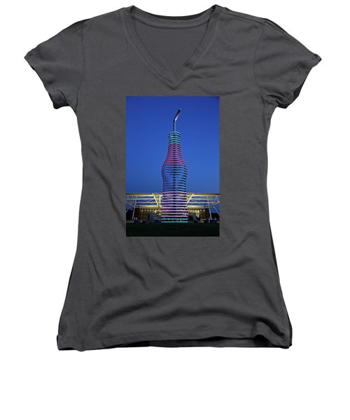 Women's V-Neck T-Shirt (Junior Cut) featuring the photograph Pops by Lana Trussell