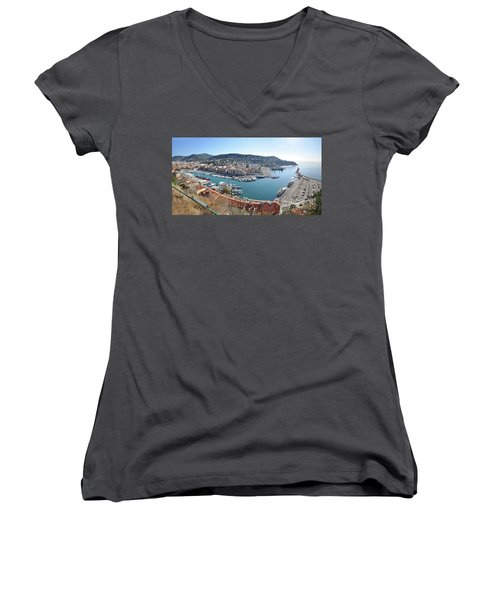 Women's V-Neck T-Shirt (Junior Cut) featuring the photograph Port Nice Panorama by Yhun Suarez