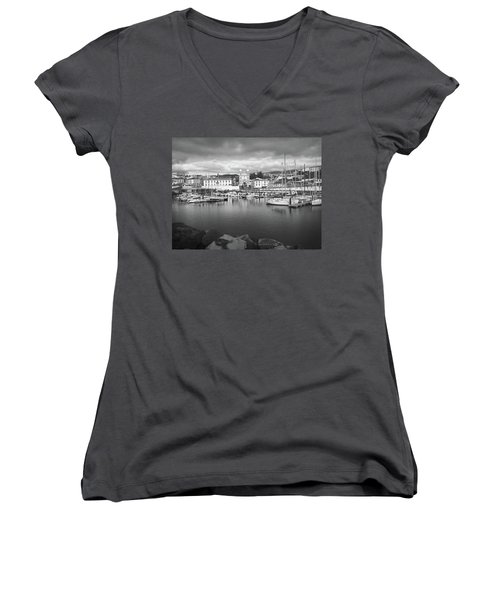 Port Of Angra Do Heroismo, Terceira Island, The Azores In Black And White Women's V-Neck T-Shirt (Junior Cut) by Kelly Hazel
