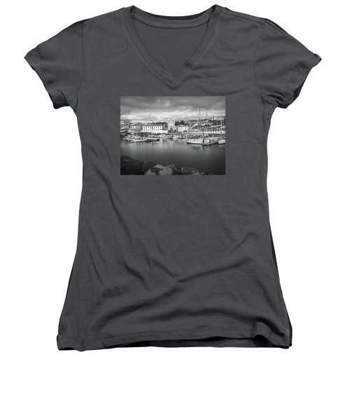 Port Of Angra Do Heroismo, Terceira Island, The Azores In Black And White Women's V-Neck