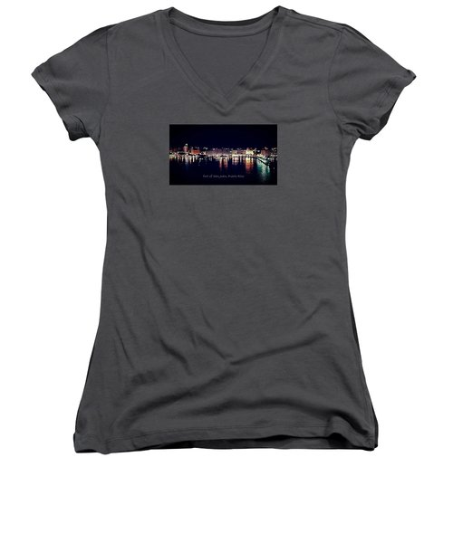 Women's V-Neck T-Shirt (Junior Cut) featuring the photograph Port Of San Juan Night Lights by DigiArt Diaries by Vicky B Fuller