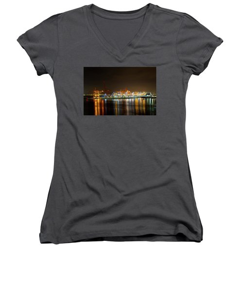 Port Of Vancouver Bc At Night Women's V-Neck (Athletic Fit)