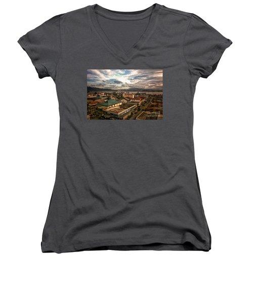 Port View At River Mahakam Women's V-Neck T-Shirt