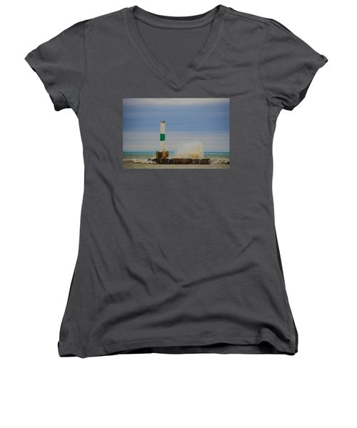 Women's V-Neck T-Shirt (Junior Cut) featuring the photograph Port Washington Light 2 by Deborah Smolinske