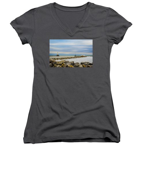 Women's V-Neck T-Shirt (Junior Cut) featuring the photograph Port Washington Light 5 by Deborah Smolinske