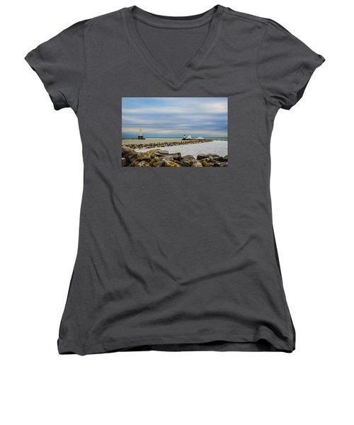 Port Washington Light 6 Women's V-Neck T-Shirt (Junior Cut) by Deborah Smolinske