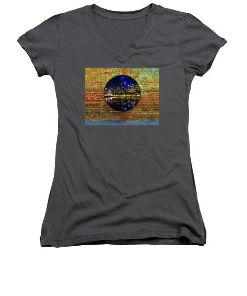 Portal Women's V-Neck T-Shirt (Junior Cut) by Mark Blauhoefer