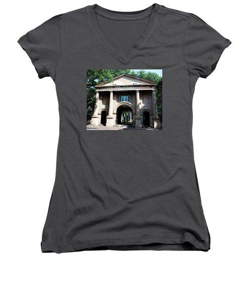 Porter's Lodge Women's V-Neck T-Shirt (Junior Cut) by Ed Waldrop