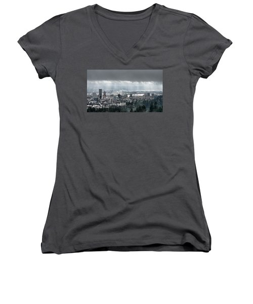 Portland After A Morning Rain Women's V-Neck T-Shirt