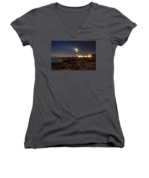 Portland Bill Lighthouse Women's V-Neck (Athletic Fit)