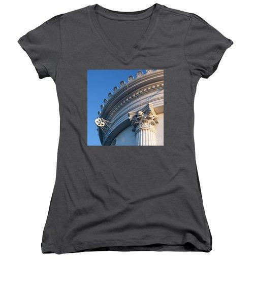 Women's V-Neck T-Shirt (Junior Cut) featuring the photograph Portland Breakwater Light  -58750 by John Bald