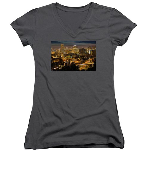 Portland Downtown Cityscape And Freeway At Night Women's V-Neck (Athletic Fit)