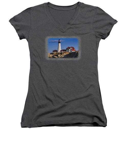 Portland Head Light No. 44 Women's V-Neck T-Shirt (Junior Cut) by Mark Myhaver
