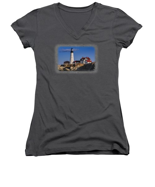 Portland Head Light No. 44 Women's V-Neck (Athletic Fit)