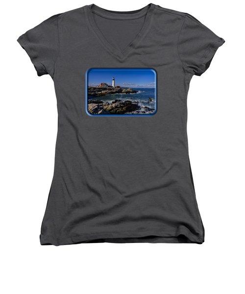 Portland Head Light No.32 Women's V-Neck T-Shirt (Junior Cut) by Mark Myhaver
