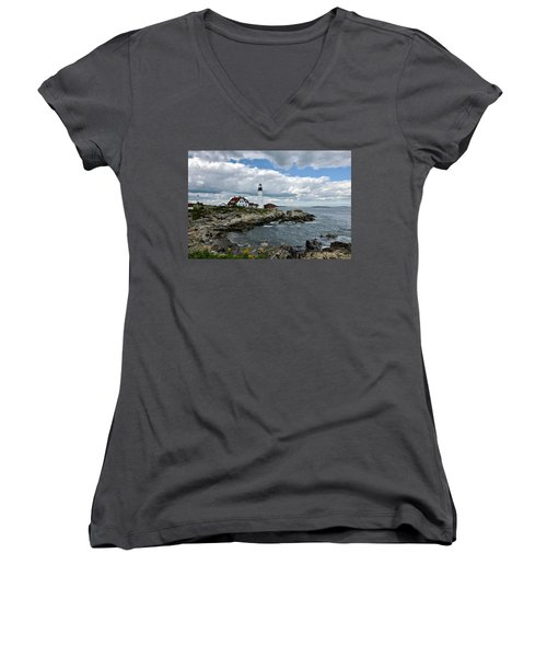 Portland Head Light, Starboard Women's V-Neck (Athletic Fit)