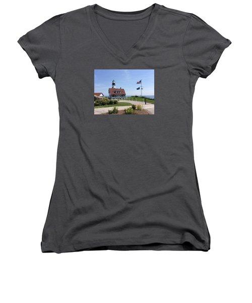 Portland Head Lighthouse Maine Women's V-Neck T-Shirt