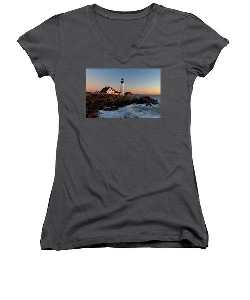 Portland Head Lighthouse Sunrise Women's V-Neck T-Shirt (Junior Cut) by Betty Pauwels