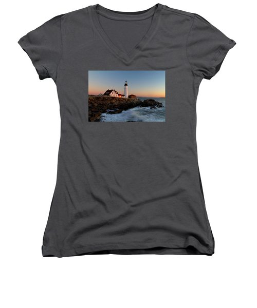 Portland Head Lighthouse Sunrise Women's V-Neck T-Shirt
